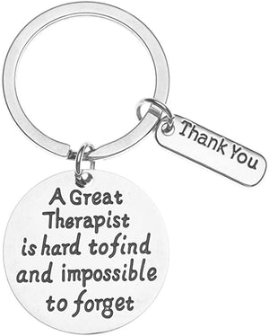 Therapist Keychain - A Great Therapist is Hard to Find but Impossible to Forget Jewelry - Therapist Gift for Men and Women