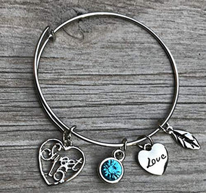 Personalized Sweet 16 Charm Bangle Bracelet with Birthstone, Custom Sweet Sixteen Jewelry Birthday Gift For Girls - Infinity Collection