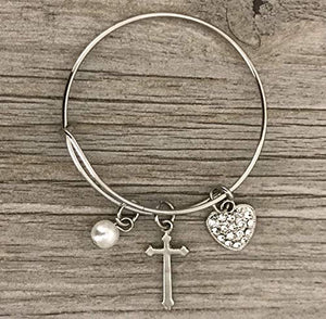 Christian Cross Bracelet, Handmade Custom Love Cross Charm Jewelry, Makes the Perfect Baptism & Christening Gift for Girls - Infinity Collection