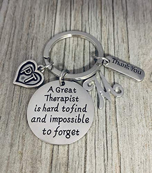 Personalized Physical Therapy Keychain, A Great Therapist is Hard to Find but Impossible to Forget - Infinity Collection
