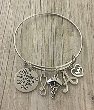 Personalized Nurse Charm Bangle Bracelet, She Believed She Could So She Did Jewelry - Infinity Collection