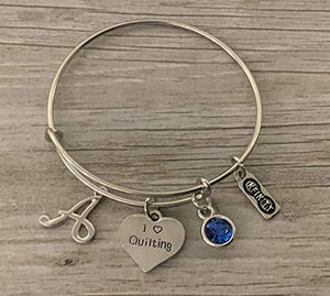 Personalized Quilting Jewelry- Quilting Gift, Quilting Bracelet, Sewing Gifts, Perfect Gift for Quilters or Sewers - Infinity Collection