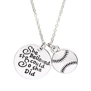 Softball She Believed She Could So She Did Necklace - Infinity Collection