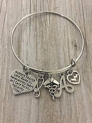Personalized Nurse Prayer Charm Bangle Bracelet, Customized Nursing Jewelry, Nurse Appreciation Gift for Women - Infinity Collection
