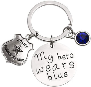 Police Keychain, My Hero Wears Blue Police Keychain - Infinity Collection