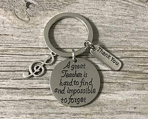 Music Teacher Keychain - Music Note Jewelry - Perfect Gift For Music Instructors, Great Teacher is Hard to Find but Impossible to Forget - Infinity Collection