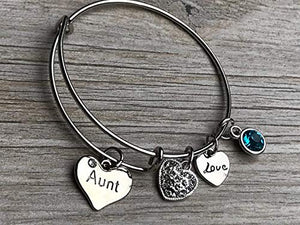 Personalized Aunt Birthstone Charm Bangle Bracelet, Aunt Jewelry, Gift for Aunts - Infinity Collection