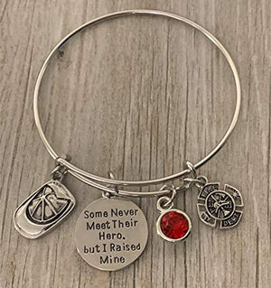 Firefighter Mom Charm Bangle Bracelet, Some Never Meet Their Hero, But I Raised Mine Jewelry