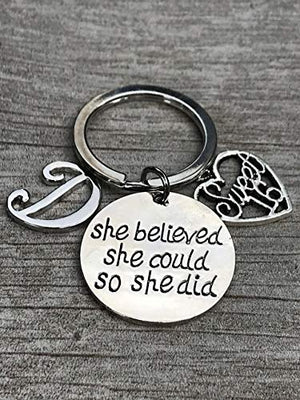 Personalized Sweet 16 Inspirational She Believed She Could So She Did Charm Keychain with Initial, Custom Sweet Sixteen Jewelry Birthday Gift For Girls - Infinity Collection
