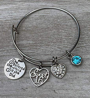 Personalized Sweet 16 She Believed She Could So She Did Birthstone Charm Bangle Bracelet - Infinity Collection