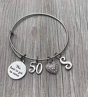 Personalized 50th Birthday Initial Bangle Gift for Women,The Best is Yet To Come 50th Birthday Expandable Charm Bracelet - Infinity Collection