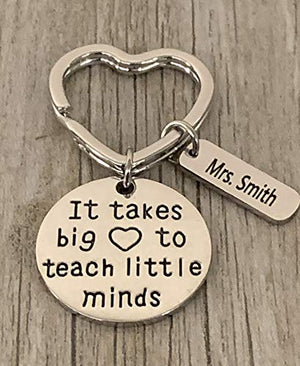 Personalized Teacher Keychain with Engraved Name Charm, It takes a Big Heart to Teach Little Minds Jewelry - Infinity Collection
