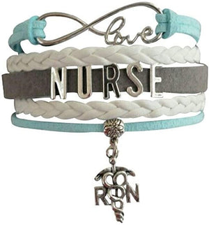 Nurse Infinity Bracelet - Teal/Gray - Infinity Collection