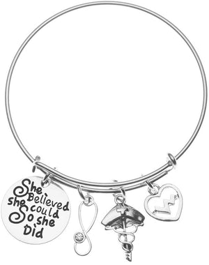 Nurse Bracelet She Believed She Could So She Did Bangle - Infinity Collection