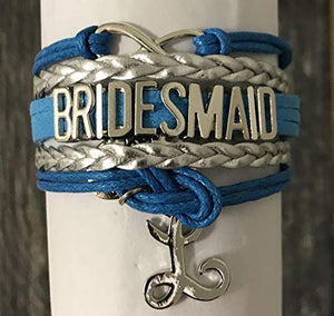 Personalized Blue Bridesmaid Bracelet with Initial Letter Charm, Custom Bridesmaid Gifts, Bridesmaid Jewelry-Makes the Perfect Gift For Bridesmaids - Infinity Collection