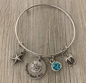 Personalized Beach Bracelet with Engraved Beach Name Charm, Beach Girl Bracelet, Summer Beach Jewelry, Gift for Beach Girls - Infinity Collection