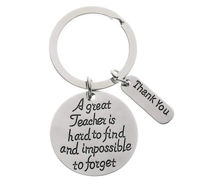 Infinity Collection Teacher Keychain, Great Teacher Is Hard to Find But Impossible to Forget, Teacher Jewelry Gift - Show Your Teacher Appreciation