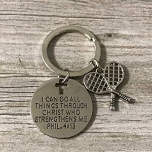 Tennis Charm Keychain, Christian Faith Charm Keychain, I Can Do All Things Through Christ Who Strengthens Me Phil. 4:13 Scripture Jewelry, Tennis Gifts For Women and Girls - Infinity Collection