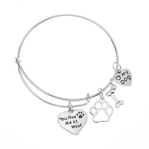 Dog Charm Bracelet - Paw Print Jewelry- Dog Lovers Bracelet- Dog Owner Bangle -Perfect Gift for Dog Lovers - Infinity Collection