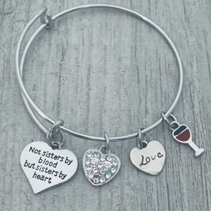 Friend Bracelet- Not Sisters By Blood But Sisters By Heart Jewelry- Pick Charm