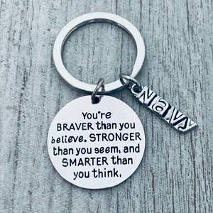 Navy Keychain - Braver Than You Believe