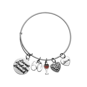 60th Birthday Bangle Gifts for Women, Live Well, Laugh Often, Love Much 60th Birthday Expandable Charm Bracelet - Infinity Collection