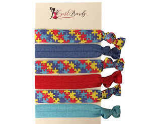 Autism Hair Ties, Autism Accessories, Autism Awareness Jewelry, Autism Puzzle Piece Hair Ties Makes the Perfect Autism Gift - Infinity Collection