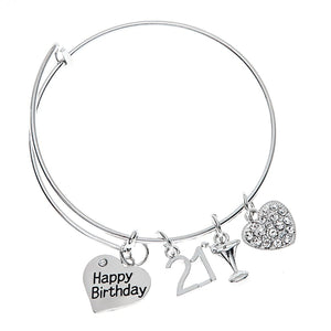 21st Birthday Gifts for Her, 21st Birthday Expandable Charm Bracelet, Adjustable Bangle, Perfect 21st Birthday Gift Ideas - Infinity Collection