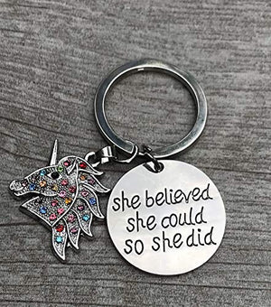 Unicorn Inspirational Charm Keychain, Girls Unicorn She Believed She Could So She Did Jewelry, for Girls - Infinity Collection