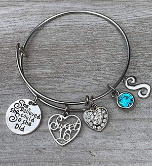 Personalized Sweet 16 She Believed She Could So She Did Birthstone and Initial Charm Bangle Bracelet - Infinity Collection