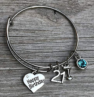 Personalized 21st Birthday Gifts for Her, Custom 21st Birthday Expandable Charm Bracelet with Birthstone Charm, Perfect 21st Birthday Gift Ideas for Women - Infinity Collection