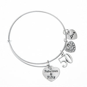 50th Birthday Gifts for Women, 50th Birthday Expandable Charm Bracelet, Adjustable Bangle, Perfect 50th Birthday Gift Ideas - Infinity Collection