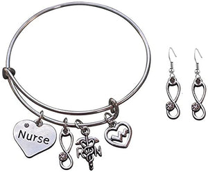 Nurse Bracelet & Earring Gift Set - Infinity Collection