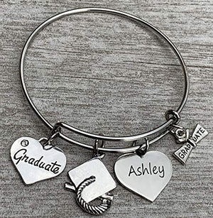 Personalized Engraved Graduation Charm Bangle Bracelet - Infinity Collection