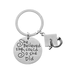 Graduation Keychain for Girls, She Believed She Could So She Did Graduation Gift - Infinity Collection