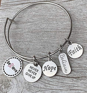 Breast Cancer Never Give Up Hope Believe Bangle Bracelet, Perfect give for Breast Cancer Patients and Survivors - Infinity Collection