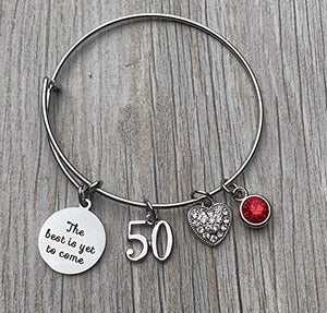 Personalized 50th Birthday Birthstone Bangle Gifts for Women,The Best is Yet To Come 50th Birthday Expandable Charm Bracelet - Infinity Collection