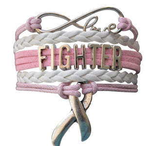 Cancer Fighter Bracelet, Pink Ribbon Cancer Awareness - Infinity Collection