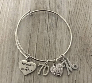 70th Birthday Bangle Bracelet with Letter Charm, Fabulous and Seventy Birthday Gifts for Women, 70th Bday Gifts for Her - Infinity Collection
