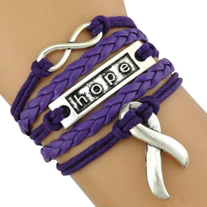 Purple Ribbon Bracelet, Awareness Jewelry - Infinity Collection