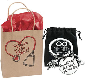 Nurse Charm Keychain & Nurse Gift Bag - Infinity Collection