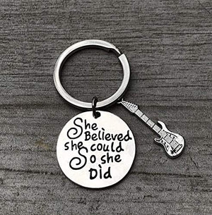 Guitar Keychain, She Believed She Could So She Did Music Keychain Gift - Musically Keychain-, Perfect Music Lover or Guitar Player Gifts - Infinity Collection