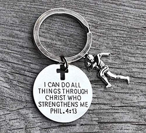 Football Charm Keychain, Christian Faith Charm Keychain, I Can Do All Things Through Christ Who Strengthens Me Phil. 4:13 Scripture Jewelry, Football Gifts For Men, Teens and Boys - Infinity Collection