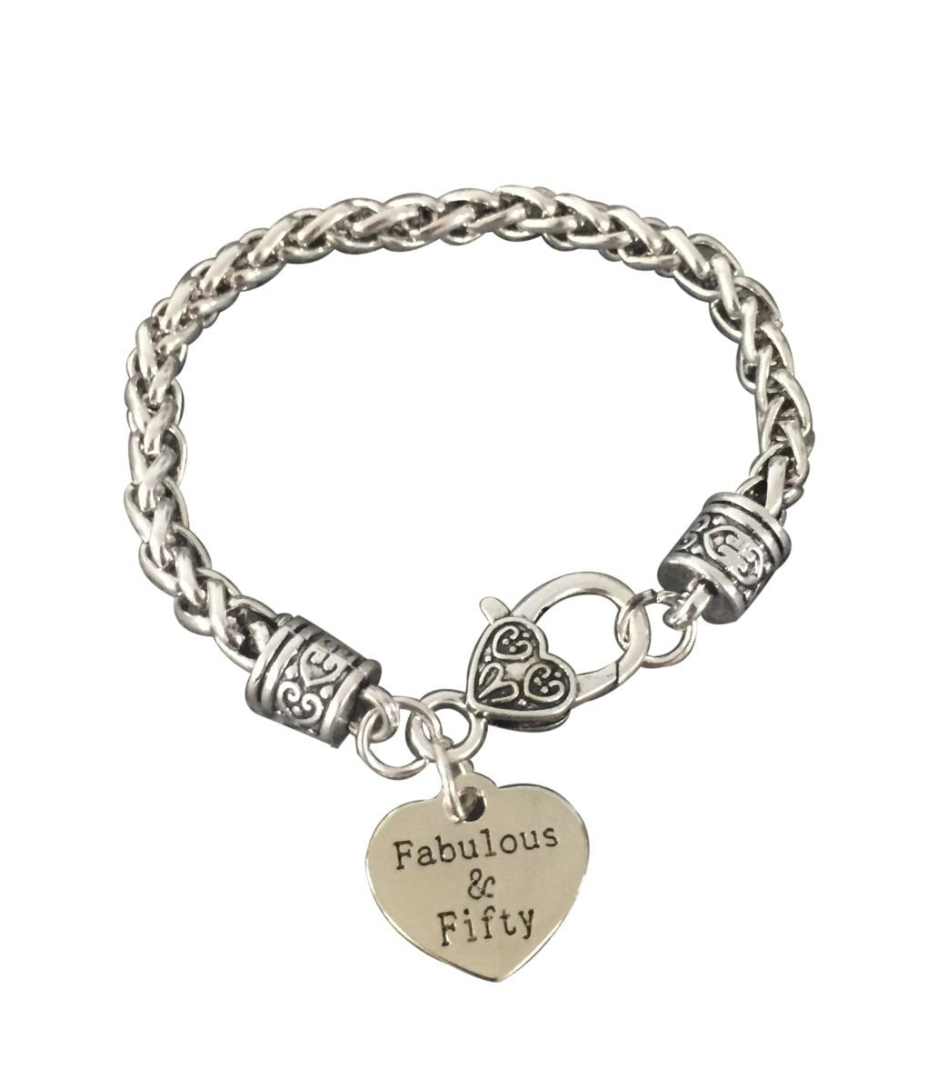 50th Birthday Gifts For Women Charm Bracelet Fabulous And Fifty