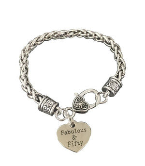 50th Birthday Gifts for Women, 50th Birthday Charm Bracelet, Fabulous and Fifty Bracelet, Perfect 50th Birthday Gift Ideas - Infinity Collection
