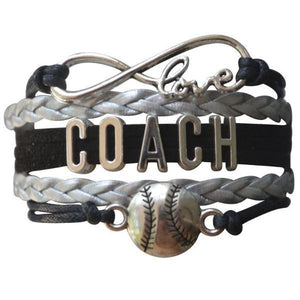 Softball Coach Bracelet - Girls - Black Silver - Infinity Collection