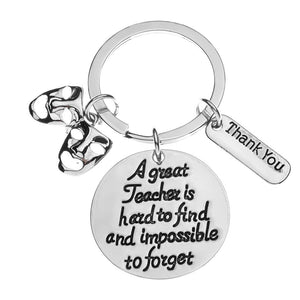Drama Teacher Gift, Great Teacher is Hard to Find But Impossible to Forget Keychain - Infinity Collection