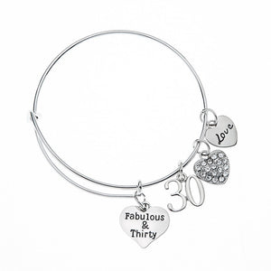 30th Birthday Gifts for Women, 30th Birthday Charm Bracelet, Adjustable Bangle, Perfect 30th Birthday Gift Ideas - Infinity Collection
