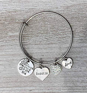 Sweet 16 Charm Bangle Bracelet- Sweet 16 Jewelry - Sweet Sixteen Gift- Perfect Birthday Gift For Girls - Infinity Collection