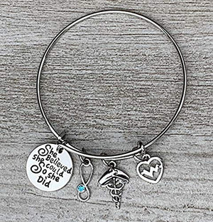 Personalized Nurse Bangle Bracelet with Birthstone Stethoscope Charm - Infinity Collection